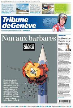 Non aux barbares (La Tribune de Genève) - Je suis Charlie