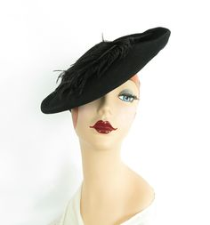 black hat, vintage Betty Co-Ed, woman's tilt, ostrich feather Fashion Over 50 Blog, 30s Fashion, Fall Fashion Trends, Boho Fashion, Vintage Fashion, Womens Fashion, Fashion Spring, Fedora Hat Women, Hat Shop