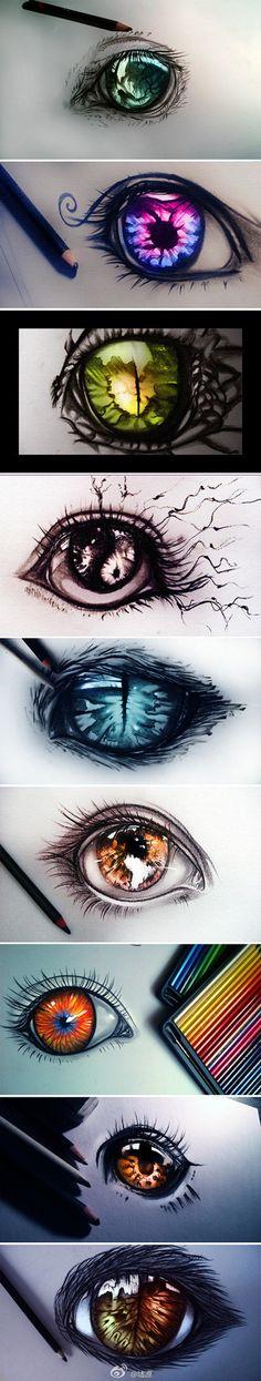 【绘画素材】超漂亮的眼睛,作者一定是画眼睛的高手,总之是触爆了,小图就很高能,(つω`)~和墟源完全不是一个等级的战斗力啊。 插画手绘 手稿 素描 铅笔画
