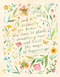 Magic of Beginnings art print Botanical by Katie Daisy at thewheatfield on Etsy Magazine Design, Graphic Design Magazine, Watercolor Quote, Floral Wreath Watercolor, Watercolor Paintings, Design Bauhaus, Happy Sunday Quotes, Acrylic Artwork, Magic Art