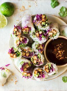 vegan summer rolls hoisin tofu plate