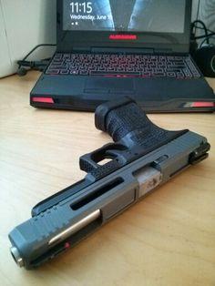 Hydra_ Custom Glock 34 hyper light slide, Lone Wolf barrel, custom stipple and frame cuts Cerakote Tungsten
