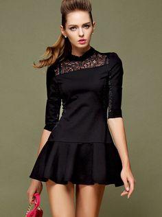 Black stand collar half sleeve lace ruffle dress #womensfashion