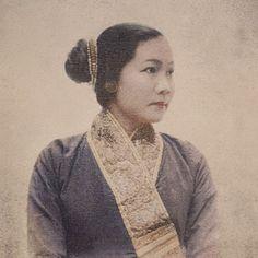 The late princess Khamla Khammao of the Kingdom of Laos wearing a suea pat