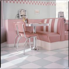 Pastel pink diner style kitchens exude a cute retro aesthetic.  #featheryournest @homesenseuk