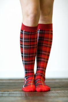 Plaid Socks - Knee Highs Stocking Stuffers Set of 3 Pairs Socks Set, Red Plaid, Solid BLACK, Purple Plaid Knee - Highs on Etsy, $18.00