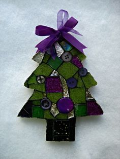 Mosaics by Olive Stack, painting with glass, exploring anamento, and composition through mosaic. Christmas Gift Decorations, Felt Decorations, Xmas Ornaments, Holiday Crafts, Christmas Mosaics, Stained Glass Christmas, Christmas Art, Christmas Tables, Coastal Christmas