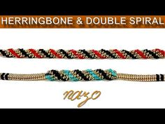 Herringbone and Double spiral rope bracelet Beaded Bracelets Tutorial, Bead Loom Bracelets, Herringbone Stitch, Chevrons, Beaded Jewelry Designs, Accesorios Casual, Beading Tutorials, Loom Beading, Molde