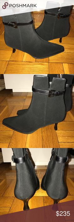 (Stuart Weitzman) NWOT Black Gore Tex Ankle Boot (Stuart Weitzman) NWOT!! Gorgeous New Condition Black Gore Tex Ankle Boot with Kitten Heel and Buckle Detail on outside of boot. Size 8.5. Stuart Weitzman Shoes Ankle Boots & Booties