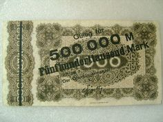 Inflation Era German 1923 Stadt Trier 1000 Marks Banknote Paper Money with 500000M Overprinted Obv.