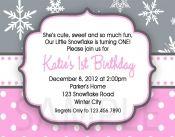 1st BIrthday Snowflake Birthday Invitations, Winter Birthday Invitation, Snowman Invitation