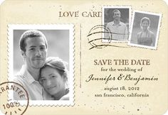 I like the idea of a magnet Save-the-Date. And I think the vintage postcard look is cute.