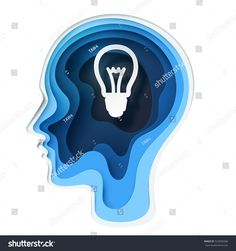 Paper Carve To Human Head And Bulb Shape On White Background Art Concept Business Idea Vector Illustration