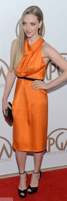 Who made Amanda Seyfried's orange dress, jewelry, sandals, and clutch handbag that she wore in Beverly Hills on January 26, 2013? Dress – Roland Mouret  Shoes – Jimmy Choo  Earrings – Cathy Waterman  Purse – Judith Leiber