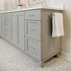 We're loving these popular paint color trends for cabinets and sharing tips for how to choose trendy cabinet colors with timeless staying power. Cabinet Paint Color Trends to Try Today and Love Forever Source by nellieblessing Grey Bathroom Cabinets, Painting Bathroom Cabinets, Grey Cabinets, Grey Bathrooms, Bathroom Flooring, Bathroom Furniture, Modern Bathroom, Small Bathroom, Bathroom Gray