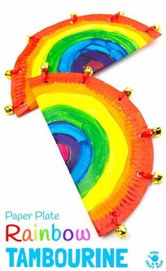 RAINBOW PAPER PLATE TAMBOURINE CRAFT - A fab homemade musical instrument to inspire creativity and fun. Kids will love to sing and dance with colourful rainbow paper plate tambourines. Music Instruments Diy, Instrument Craft, Homemade Musical Instruments, Musical Instruments For Toddlers, Creative Arts And Crafts, Diy Crafts For Kids, Fun Crafts, Craft Kids, Decor Crafts