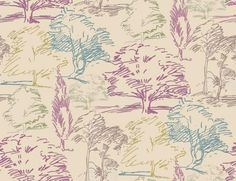 Aspen (211669) - Sanderson Wallpapers - A contemporary depiction of a woodland landscape drawn in a free-flowing sketch style. Shown in the Blackberry and Olive colourway, purples and greens. Paste the wall. Please request sample for true colour match.