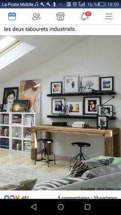 Small Office, Office Desk, Corner Desk, Ideas, Furniture, Home Decor, Wood, Industrial Stool, Desk Nook
