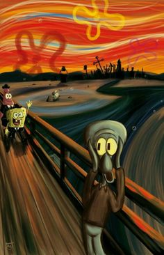 A Spongebob Squarepants parody of The Scream by Edvard Munch Cartoon Wallpaper, Disney Wallpaper, Wallpaper Spongebob, Retro Wallpaper, Edvard Munch, Le Cri Munch, Scream Parody, Scream Meme, Cute Wallpapers