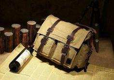 Vintage Canvas Military with Leather Trims #canvasleatherbag #messengerbag #vintagebag