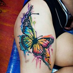 Watercolor Butterfly Thigh Tattoo