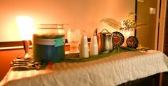Drink station for boy baby shower (safari-theme).  Blue punch!