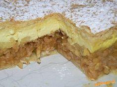 Štedrý jablkovo-tvarohový koláč Cesto: 350g polohr múky, 80g tuku, 1/2 pr do peč, 40g cukru prášk, 2 vanilky, 1 vajíčko, 1dcl. mlieka * PLNKA JABLKOVÁ: 5-6 jabĺk nastrúhaných na veľké slížiky, 3 lyžice cukru, 1škoricový cukor, 2hrste popučených piškót. * PLNKA TVAROHOVÁ: 250g krémového tvarohu, 2,5 dcl mlieka, 1 krémový prášok - maizena, 1 vajíčko, 2PL cukru , 1cl. rumu. Vypracujeme cesto, do chladu. Na polku cesta jablká, cukr škorica, piškóty, tvarohovú plnku, druhý plát, popicháme… Czech Recipes, Russian Recipes, Cookie Desserts, Cookie Recipes, Healthy Diet Recipes, Polish Recipes, Desert Recipes, I Love Food, Food Dishes
