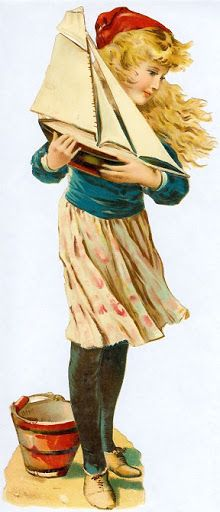 Victorian die cut of a Girl with sailboat and beach pail.