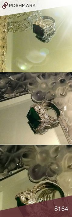 """🔱THE """"QUEEN EMERALD"""" 38CT CUSHION RING🔱8 38CT CUSHION CUT EMERALD (Lab) MAGNIFICENT MUSEUM LOOKING RING IS LEAVING ME SPEECHLESS!!  IT HAS EVERY SIDE COVERED IN BOTH MARQUISE & PEARS IN TOP QUALITY (LAB) DIAMONDS!  THIS REMINDS ME OF THE 'QUEEN OF SWEDEN'S' EMERALD RING/ BROOCH ~ THAT I HAD AN HONOR TO MEET SEVERAL YEARS AGO...THROUGH A DEAR FRIEND OF MINE..EMERALD IS ONE OF MY ALL TIME MOST FAVORITE GEMSTONES & MY BIRTHSTONE, I'M THRILLED TO HAVE IT AVAIL NOW! THIS IS SET IN 925S FINE…"""