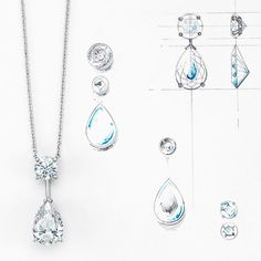 Diamond drops sparkle with radiance in the light