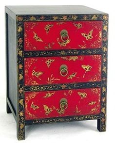 Similar To One Of Our Red And Black Chests   Note The Gold Butterflies. Asian  FurnitureOriental ...