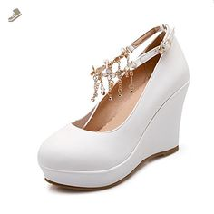 4c51b7203f0 BalaMasa Girls Solid Buckle High-Heels White Imitated Leather Pumps-Shoes -  9 B(M) US - Balamasa pumps for women ( Amazon Partner-Link)