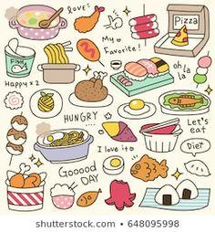 Doodles Kawaii, Food Doodles, Cute Doodles, Cute Food Drawings, Cute Kawaii Drawings, Doodle Drawings, Cute Doodle Art, Cute Art, Doodles Bonitos