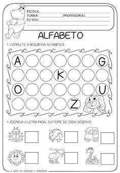 Atividade pronta - Alfabeto e letra inicial                                                                                                                                                      Mais Kindergarten Math Worksheets, Alphabet Worksheets, Worksheets For Kids, Montessori Activities, Infant Activities, File Folder Activities, Math For Kids, Teaching Spanish, Special Education