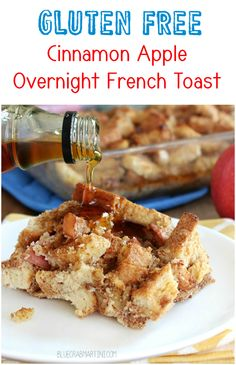 Gluten Free Cinnamon Apple Overnight French Toast! Prepare it at night and in the morning pop it in the oven for a delicious healthy breakfast! | BlueCrabMartini.com