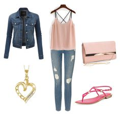 A fashion look from September 2016 featuring pink tank top, jean jacket and metallic sandals. Browse and shop related looks. Percy Jackson Cabins, Percy Jackson Outfits, Metallic Sandals, Aphrodite, Frame Denim, New Look, Target, Cute Outfits, Fashion Looks