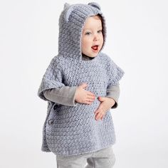 Teddy bear poncho, free pattern