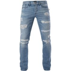 3x1 M5 Low Rise Slim ($385) ❤ liked on Polyvore featuring men's fashion, men's clothing, men's jeans, jeans, men, mens pants, pantalones hombre, montecristo, mens slim ripped jeans and mens slim jeans
