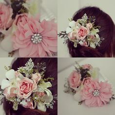 Hair piece with the Flora clip available at http://www.shoeclips.com.au/collections/flowers/products/flora-pink