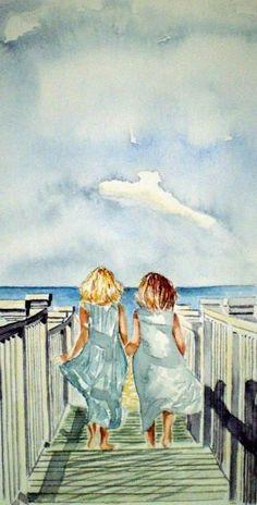 Sisters Painting by Paul Sandilands - Sisters Fine Art Prints and Posters for Sale Art Aquarelle, Watercolor Paintings, Watercolours, Beach Paintings, Original Paintings, Art Plage, Art Amour, Fine Art Prints, Canvas Prints