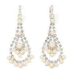 jcp   Vieste® Simulated Pearl and Rhinestone Chandelier Earrings