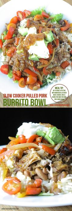 A homemade burrito bowl recipe (that rivals Chipotle) using slow cooker pulled pork, homemade rice and beans, veggies, and plenty of toppings. This is an excellent base recipe for using up leftover meats, veggies, rice, and beans when you need to make healthy quick meals during the week.