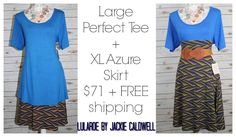 Monday outfit of the day! Large perfect tee  XL Azure skirt! Available in my VIP group! #lularoebyjackiecaldwell #lularoe #lularoeazure #lularoecombo #lularoeperfecttee #lularoeoutfitoftheday