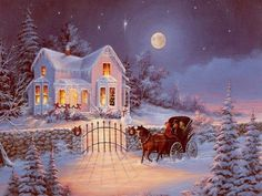 Bilderesultat for thomas kinkade christmas paintings Winter Christmas Scenes, Photo Christmas Tree, Christmas Home, Vintage Christmas, Merry Christmas, Vintage Winter, Victorian Christmas, White Christmas, Christmas Ideas