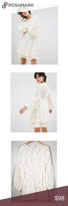 a642b4f82a166 Free People    Ruby Crochet Mini Dress Victorian vibes with a modern twist.  Fit