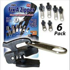 6 Pack Set TV Fix A Zipper Zip Slider Rescue Instant Repair Replace Kit Tent Bag