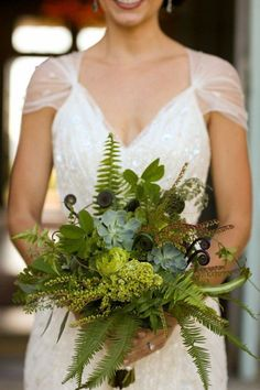 Purple fiddlehead ferns and leaves wedding bouquet / http://www.deerpearlflowers.com/greenery-fern-wedding-ideas/