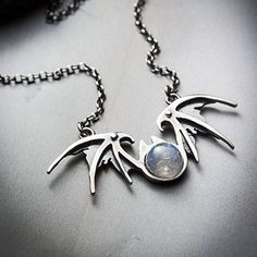 NOCTURNE silver and moonstone vampire wings by missyindustry, $84.00
