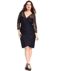 Adrianna Papell Plus Size Dress, Three-Quarter-Sleeve Lace Tiered Sheath  Web ID: 891158