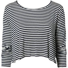 Nly Trend Striped Crop Top ($28) ❤ liked on Polyvore featuring tops, shirts, crop tops, blusas, long sleeves, peacoat, womens-fashion, crop top, blue stripe shirt and blue shirt